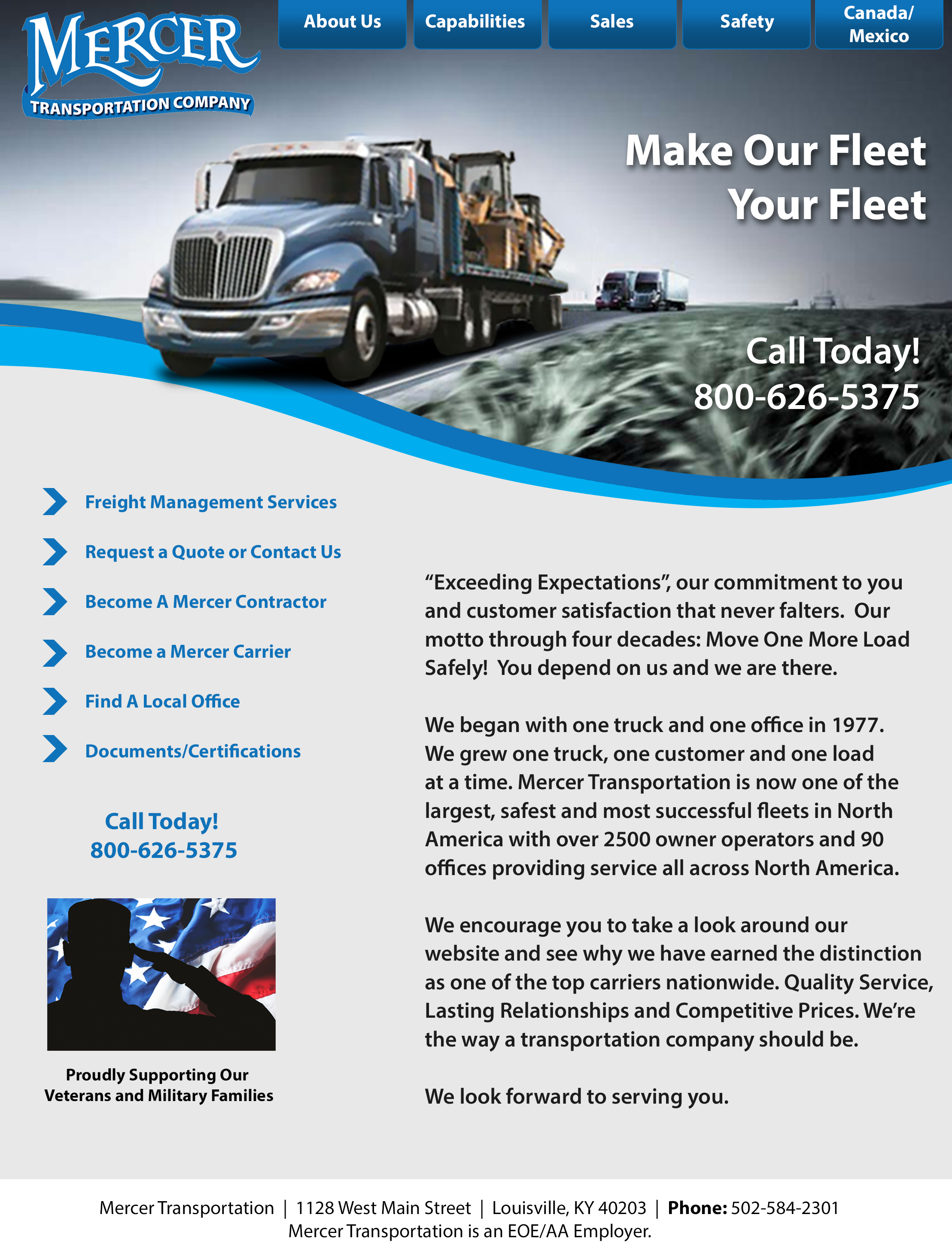 Website design originally created for Mercer Transportation to recruit drivers.