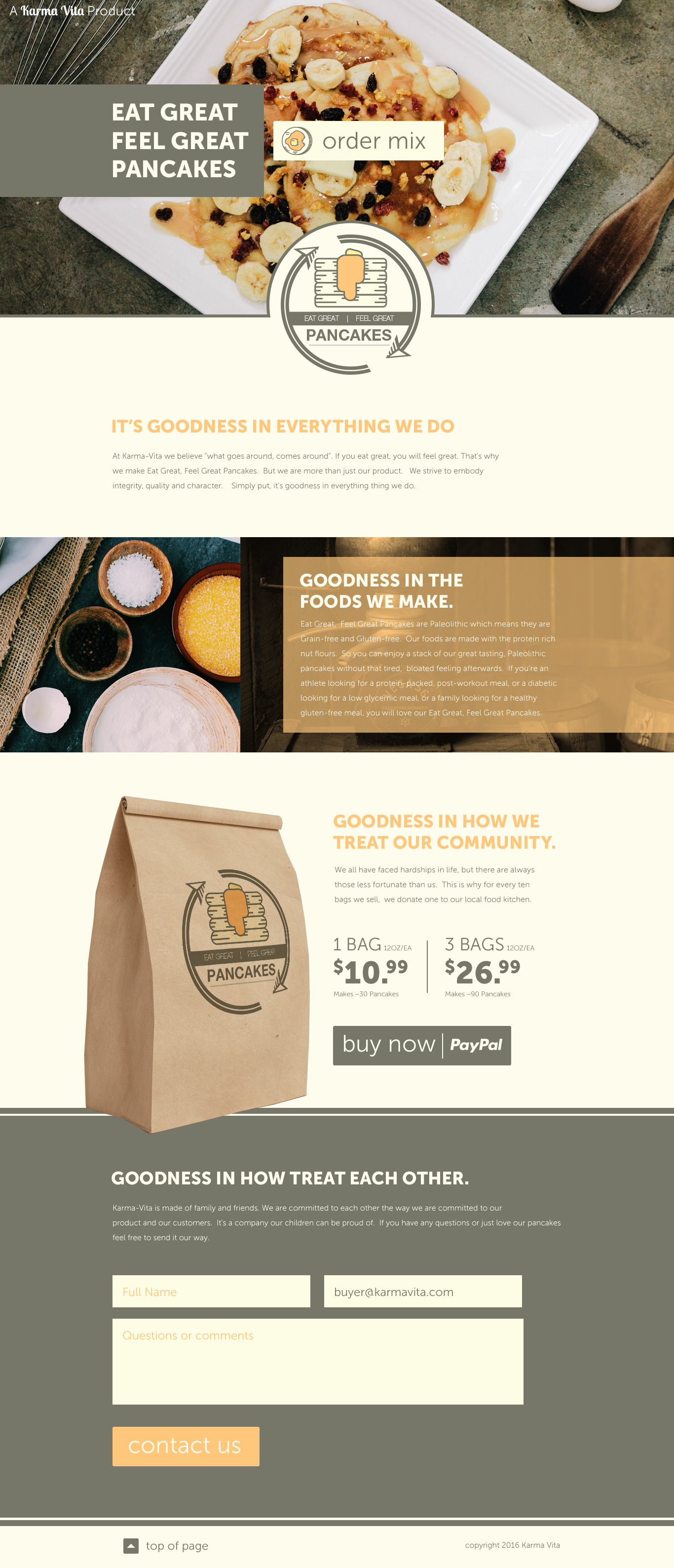 Website Design for a pancake company